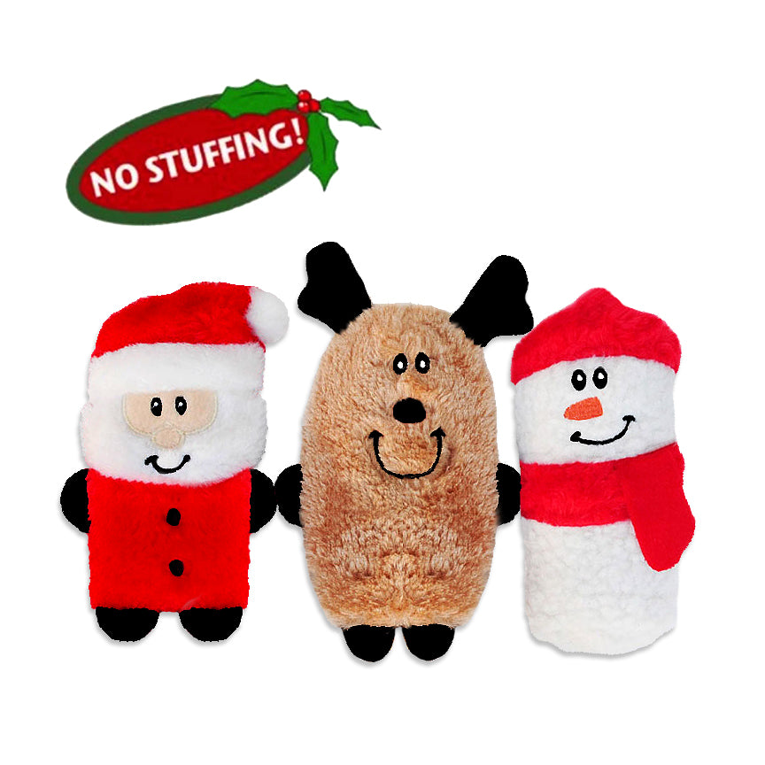 Zippy Paws No Stuffing Santa, Rudolph or Frosty Small Dog Toy!