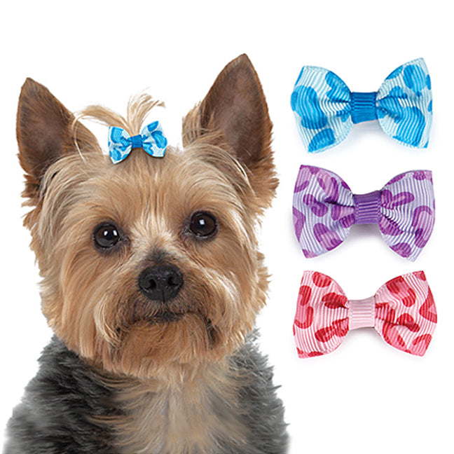 Animal Print Small Dog Hair Bow Barrettes