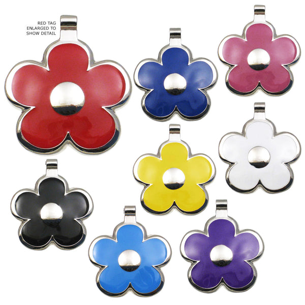 Flower Shape Enamel Dog ID Tags