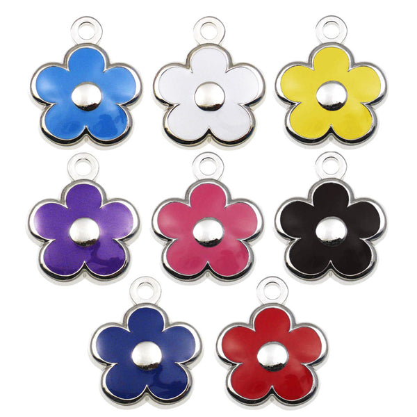 Mini Flower Enamel Small Dog, Puppy or Cat ID Tag