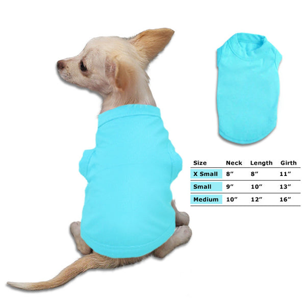 Aqua Small Dog Tank Style T-Shirt, Small Dog Mall