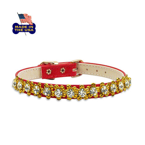 Red Bedazzling Flower Filigree Small Dog Collar