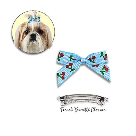 Cheery Cherry Hair Bow Barrettes for Small Dogs