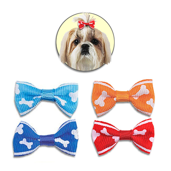 Bone Design Hair Bow Barrettes for Small Dogs