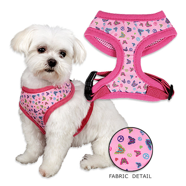 Pink Butterfly Peace Dog Harness