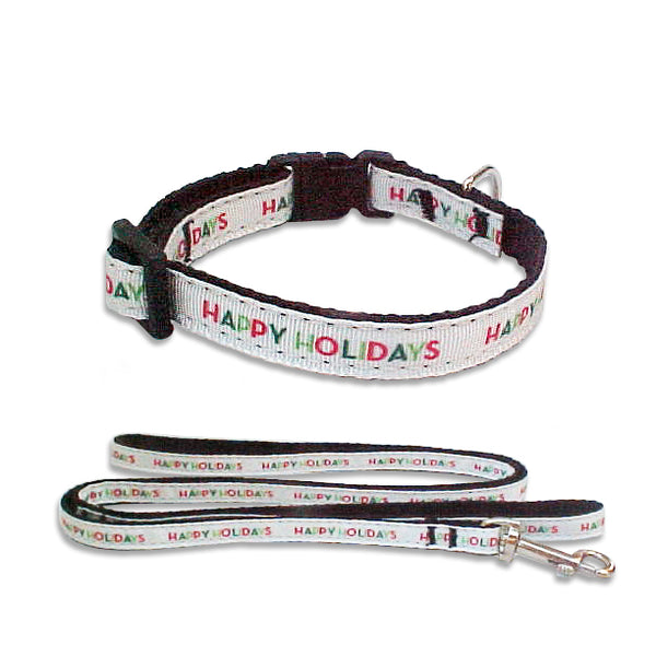 Happy Holidays Ribbon Dog Collar and Leash Combo for Small Dogs