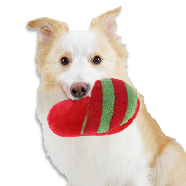 Festive Christmas Stripe Slipper Small Dog Toy
