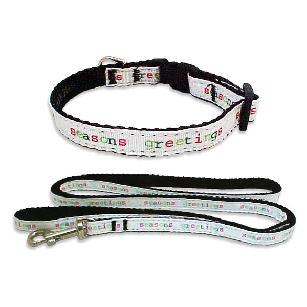 Seasons Greetings Ribbon Dog Collar for Small Dogs