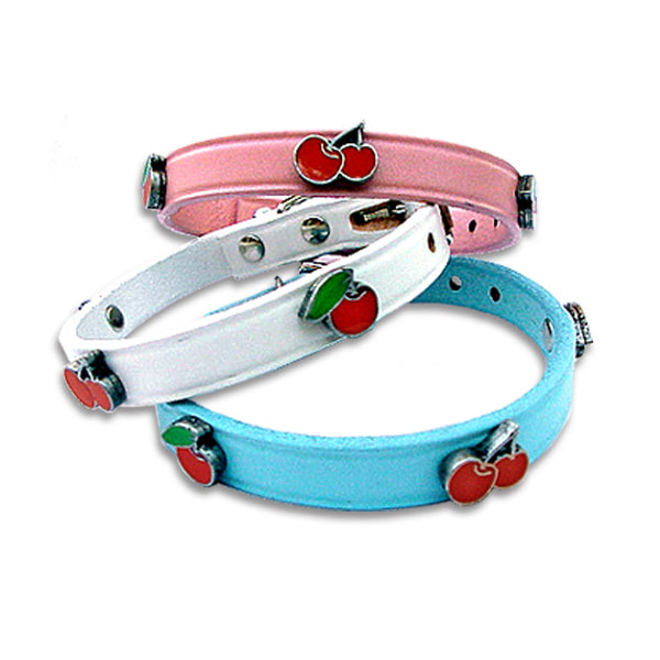Enamel Very Cherry Small Dog Leather Collar or Leash