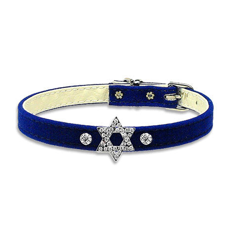 Crystal & Velvet Star of David Dog Collar, Chewish, Small Dog Mall, Small Dog Mall - Good things for little dogs.  - 1