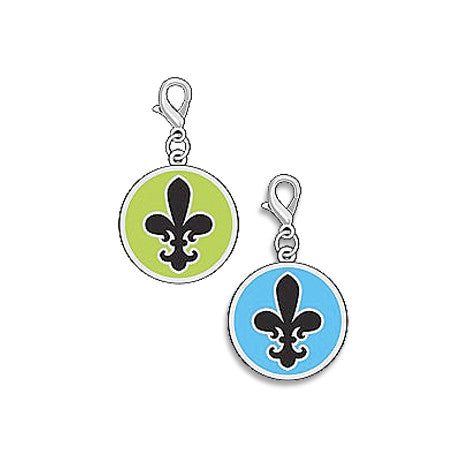 Enamel Fleur De Lis Dog Collar Charms, , Collar Pendant, Small Dog Mall, Small Dog Mall - Good things for little dogs.  - 1