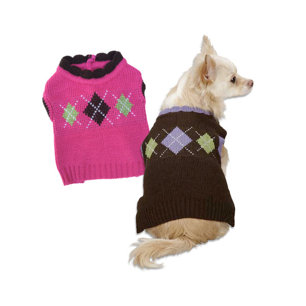 Academy Argyle Dog Sweater - Small Dog Mall - Good things for little dogs. - 1
