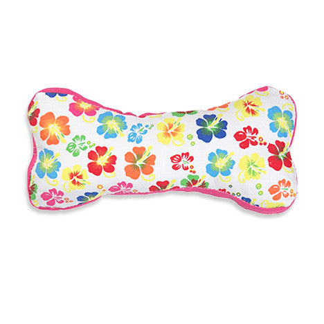Aloha Hybiscus Print Canvas Bone Dog Toy, Toy, Small Dog Mall, Small Dog Mall - Good things for little dogs.  - 1