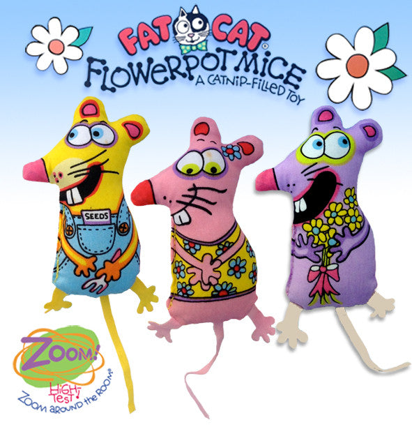 Fat Cat Flower Pot Mice Cat Toy, , Kitty, Small Dog Mall, Small Dog Mall - Good things for little dogs.