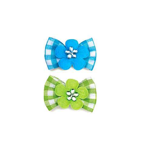 Gingham Dog Hair Bow Barrette, , Hair Accessory, Small Dog Mall, Small Dog Mall - Good things for little dogs.  - 1