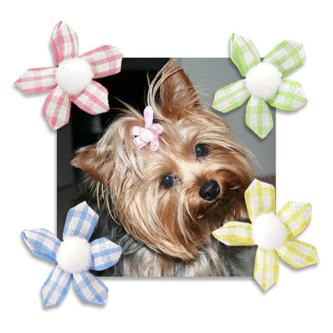 Gingham Ribbon Flower Dog Hair Bows, , Hair Accessory, Small Dog Mall, Small Dog Mall - Good things for little dogs.  - 1