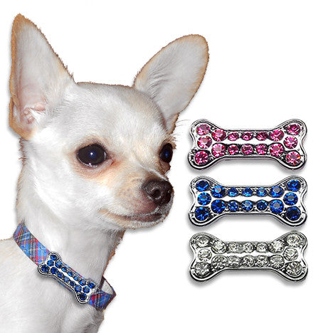 Bone Dog Collar Slides with Crystals, , Slide, Small Dog Mall, Small Dog Mall - Good things for little dogs.  - 1