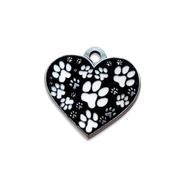 Black & White Heart & Paw Design Dog ID Tag, , ID Tag, Small Dog Mall, Small Dog Mall - Good things for little dogs.  - 1