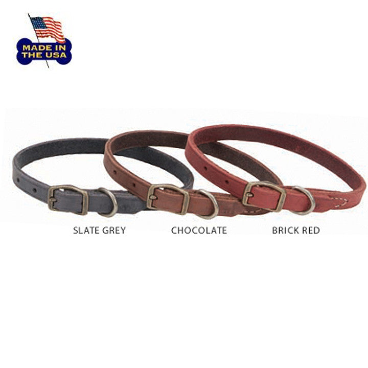 Fine Leather Small Dog Collars in Three Colors!