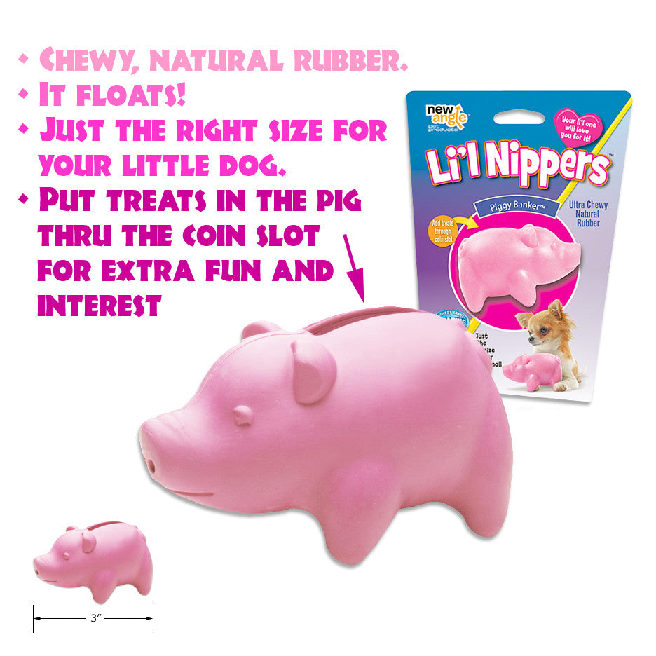 Lil Nipper Pink Rubber Pig Puppy and  Small Dog Treat Toy