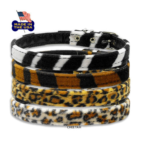 Velvet Animal Prints Small Dog Collars, Collar, Small Dog Mall, Small Dog Mall - Good things for little dogs.  - 1