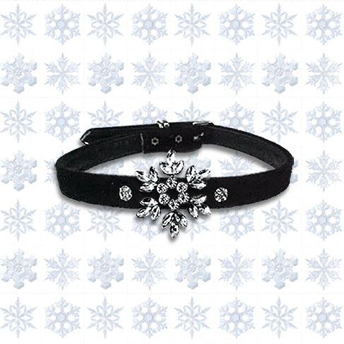 Holiday Velvet Big Snowflake Small Dog Collar
