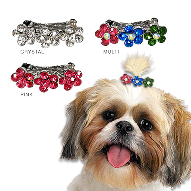 Crystal Flower Dog Hair Barrette