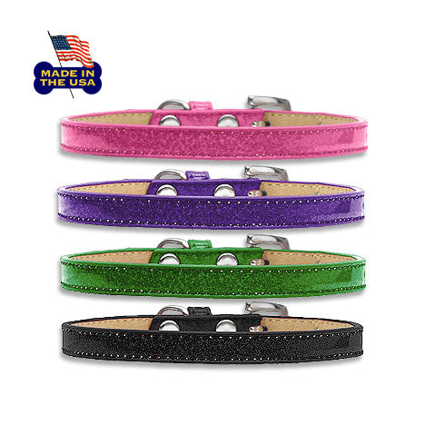 Metal Flake Dog Collars come in pink, purple, green and black. They are made in the USA.