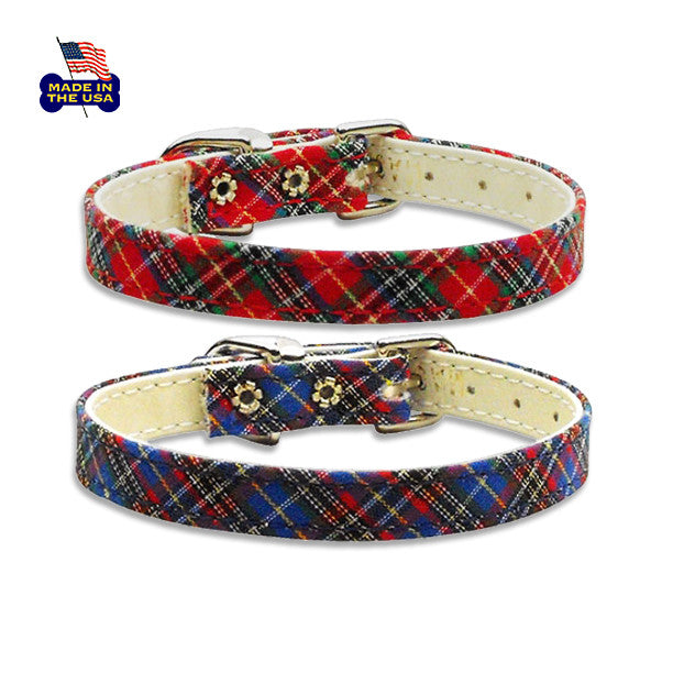 Perfect Plaid Dog Collar, , Collar, Small Dog Mall, Small Dog Mall - Good things for little dogs.  - 1