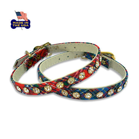 Perfect Plaid Small Dog Collar with Crystals! Small Dog Mall, Small Dog Mall - Good things for little dogs.  - 1