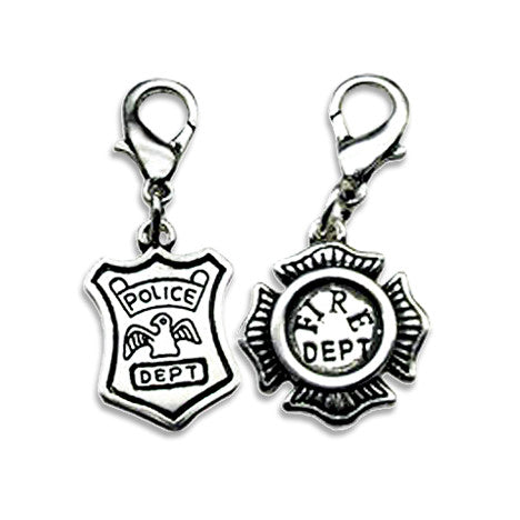 Police or Fire Department Dog Collar Charms, , Collar Pendant, Small Dog Mall, Small Dog Mall - Good things for little dogs.  - 1