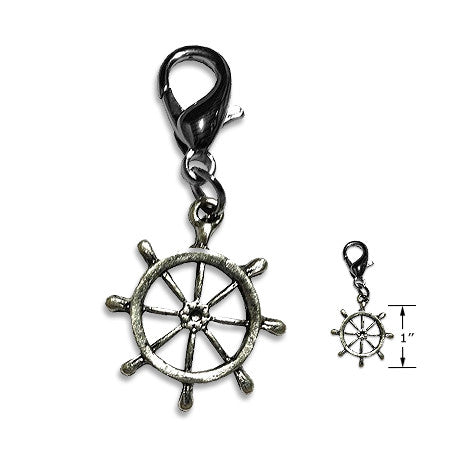 Ship's Wheel Dog Collar Charm, , Collar Pendant, Small Dog Mall, Small Dog Mall - Good things for little dogs.  - 2