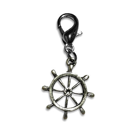 Ship's Wheel Dog Collar Charm, , Collar Pendant, Small Dog Mall, Small Dog Mall - Good things for little dogs.  - 1