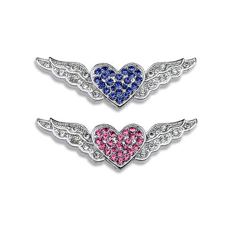 Crystal Winged Heart Dog Collar Slide, , Slide, Small Dog Mall, Small Dog Mall - Good things for little dogs.  - 1