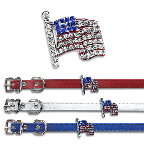 US Flag Small Dog Collar Slide