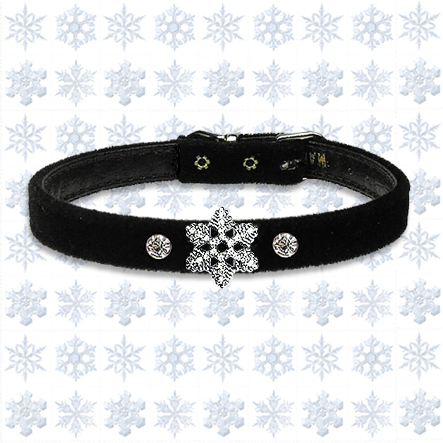 Winter Holidays Velvet Petite Snowflake Small Dog Collar