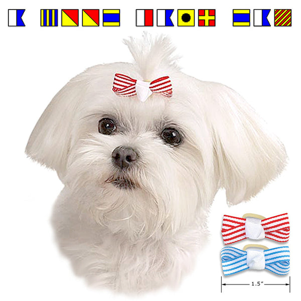 Red & Blue Nautical Theme Dog Hair Bows for Small Dogs