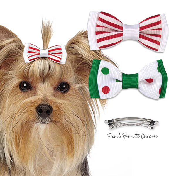 Cool Peppermint Hair Bow Barrette for Small Dogs