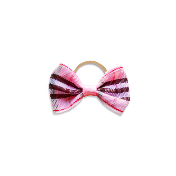 Pink Plaid Designer Small Dogs Hair Bow