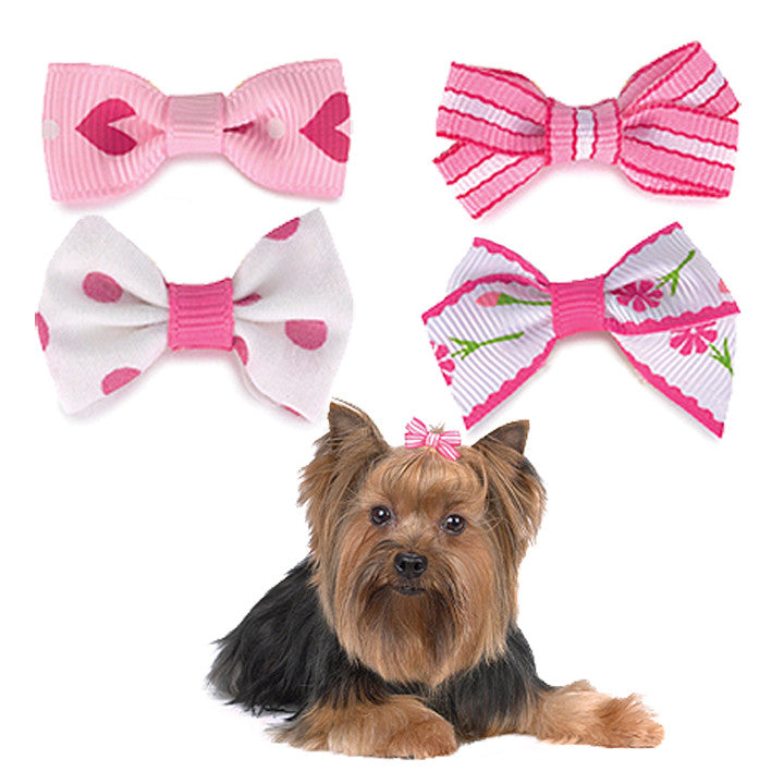Pretty in Pink Dog Hair Bows for Small Dogs