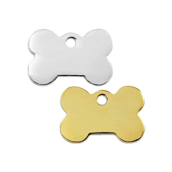 Stainless Steel or Brass Bone Shaped Small Dog ID Tag