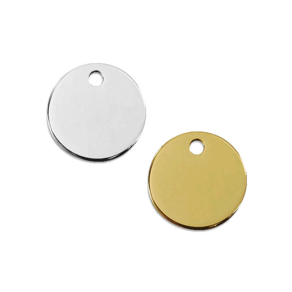Stainless Steel or Brass Circle Dog ID Tag
