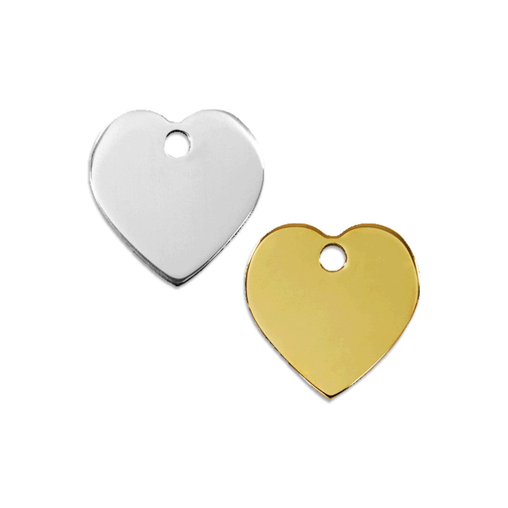 Stainless Steel or Brass Heart Dog ID Tag