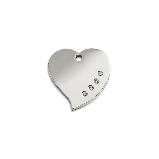 Diamante Heart ID Tag, , ID Tag, Small Dog Mall, Small Dog Mall - Good things for little dogs.  - 1