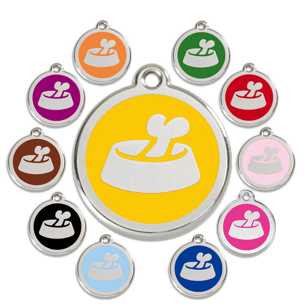 Bone In Dish Dog ID Tag, , ID Tag, Small Dog Mall, Small Dog Mall - Good things for little dogs.  - 1