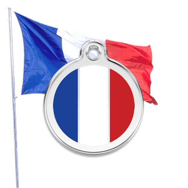 Vive la France Dog ID Tag, , ID Tag, Small Dog Mall, Small Dog Mall - Good things for little dogs.  - 1
