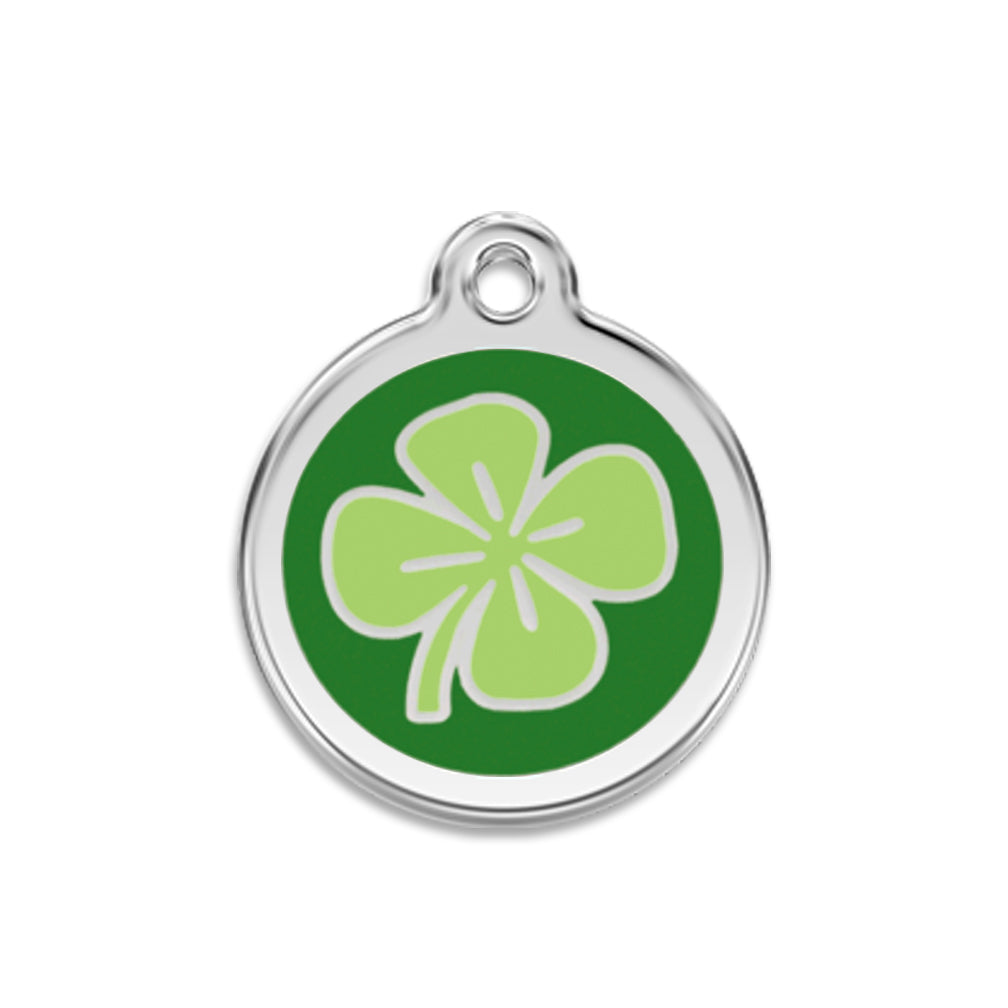 Red Dingo Lucky Shamrock Dog ID Tag for Small Dogs