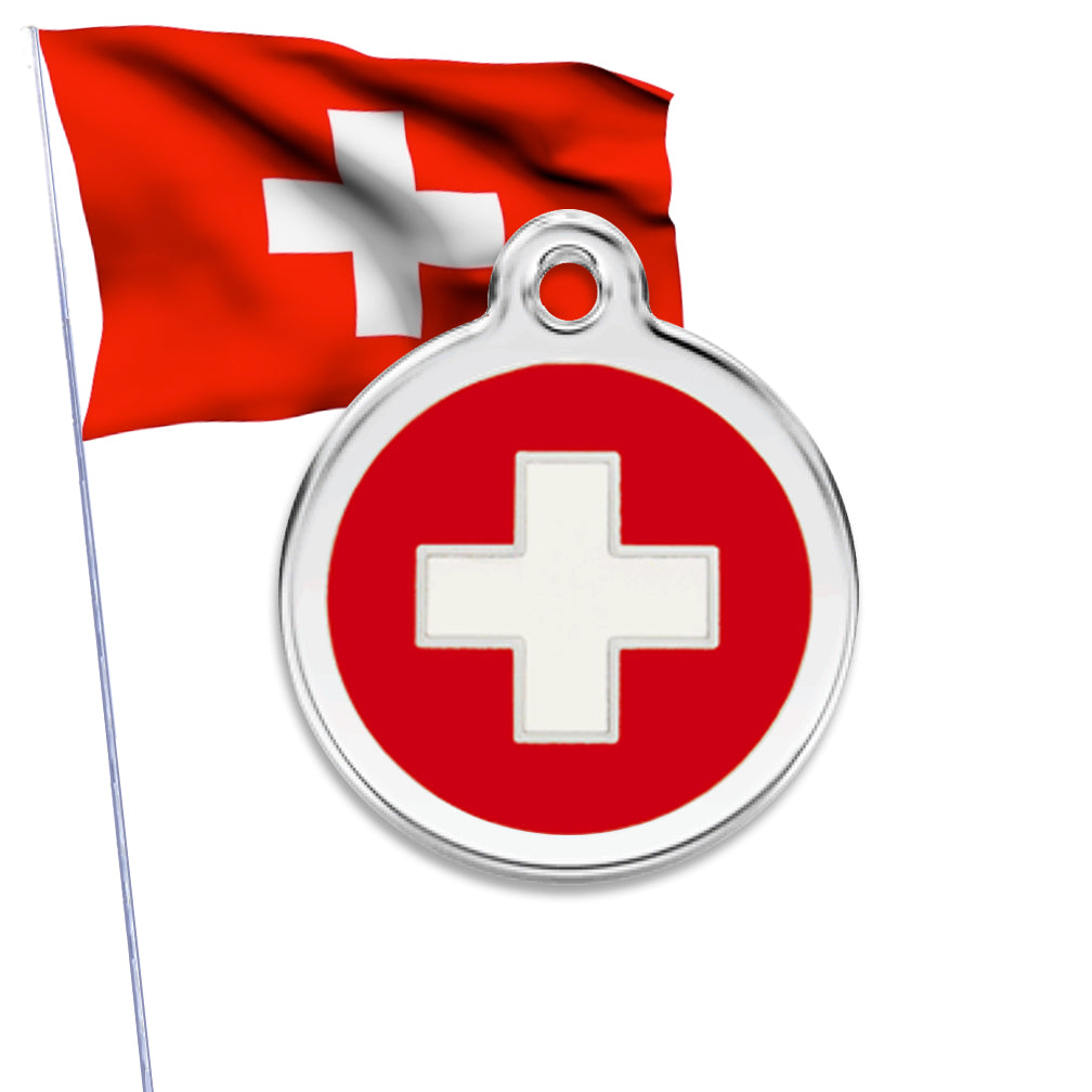 Red Dingo Swiss Flag or Medic Alert Dog ID Tag