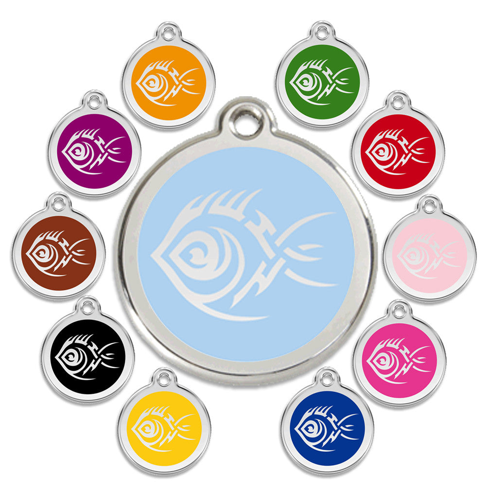 Tribal Fish Dog ID Tag, , ID Tag, Small Dog Mall, Small Dog Mall - Good things for little dogs.  - 1