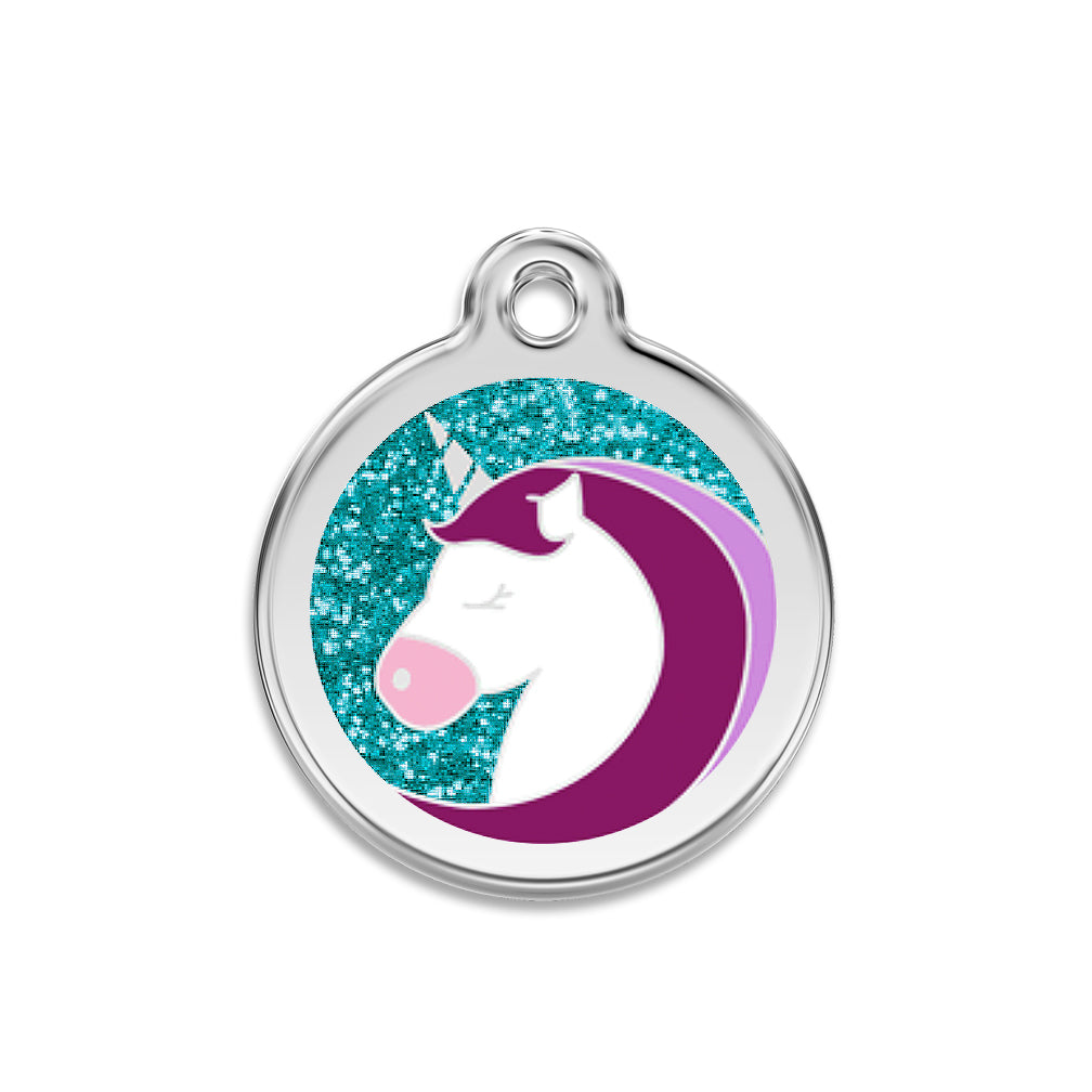 Red Dingo Glitter Unicorn Dog Pet ID Tag for Small Dogs